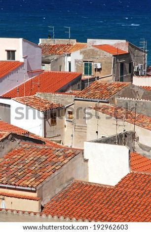 Italy. Sicily island . Province of Palermo. View of Cefalu. Roofs  - stock photo