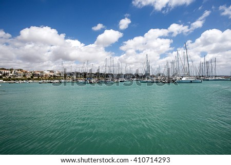 Italy, Sicily, Mediterranean sea, Marina di Ragusa; 24 April 2016, luxury yachts in the marina - Editorial Use only - stock photo