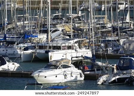 Italy, Sicily, Mediterranean sea, Marina di Ragusa;  2 february 2015, view of luxury yachts in the marina - EDITORIAL - stock photo
