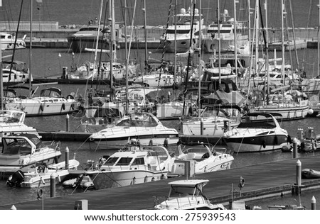 Italy, Sicily, Mediterranean sea, Marina di Ragusa;  7 may 2015, view of luxury yachts in the marina  - stock photo