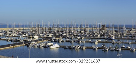 Italy, Sicily, Mediterranean sea, Marina di Ragusa; 19 october 2015, view of luxury yachts in the marina - EDITORIAL - stock photo