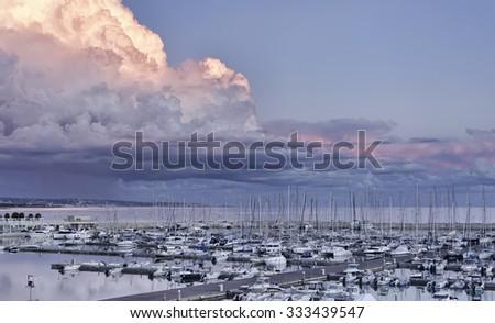 Italy, Sicily, Mediterranean sea, Marina di Ragusa; 30 october 2015, view of luxury yachts in the marina - EDITORIAL - stock photo