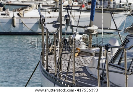 Italy, Sicily, Mediterranean sea, Marina di Ragusa; sailing boats and luxury yachts in the port - stock photo
