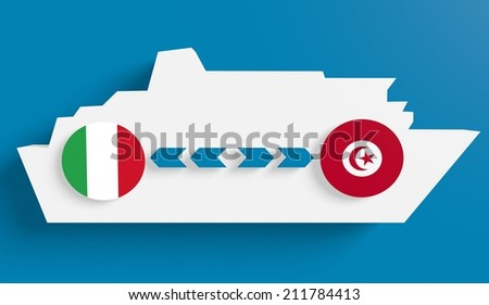 italy spain tunisia boat route info in icons - stock photo
