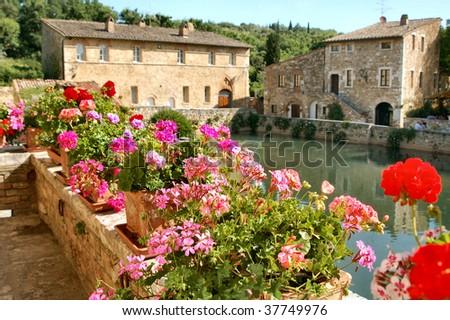Italy, Tuscany, Bagno Vignoni - stock photo