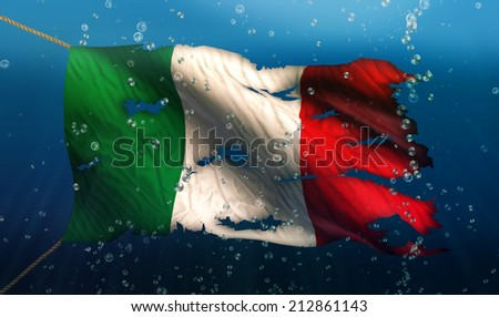 Italy Under Water Sea Flag National Torn Bubble 3D - stock photo