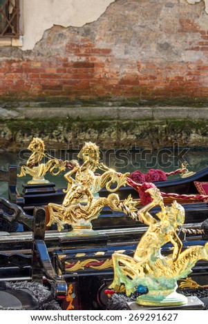 Italy. Venice. Details of typical venetian gondolas. - stock photo