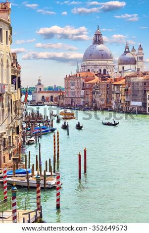 Italy. Venice. Grand Canal. View of the Basilica di Santa Maria della Salute - stock photo