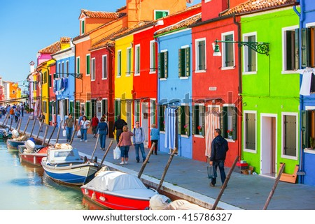 Italy, Venice - may 07: Burano island with traditional colorful houses  - stock photo