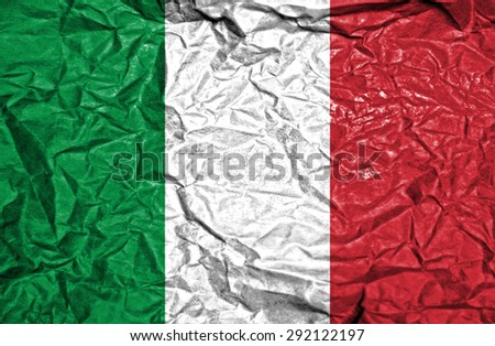 Italy vintage flag on old crumpled paper background - stock photo