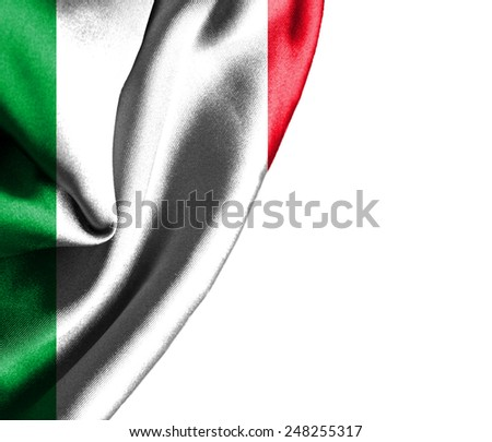Italy waving silky flag isolated on white background - stock photo