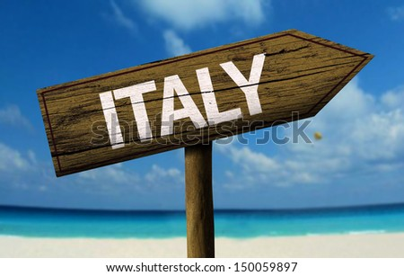 Italy wooden sign with a beach on background - stock photo