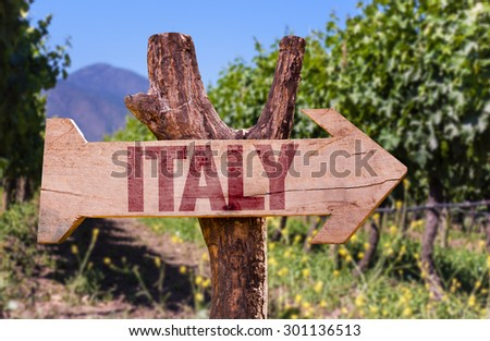 Italy wooden sign with winery background - stock photo