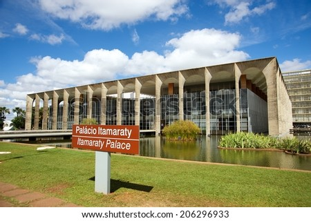 Itamaraty Palace, headquarters of the Ministry of External Relations, in the city of Brasilia, Brazil. - stock photo