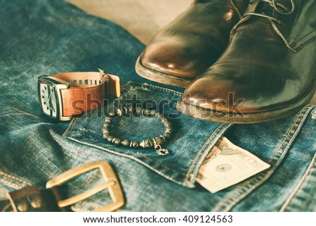 items of men's clothing and accessories - stock photo