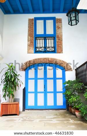 Iterior door and window of colonial house, Havana ,Cuba - stock photo
