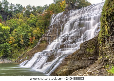 Ithaca Falls - one of the most powerful waterfalls in the region, near the Cornell Campus in Ithaca, New York - stock photo