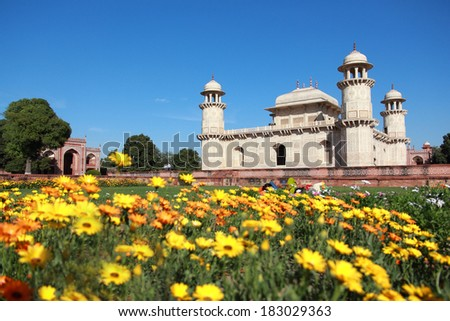 Itmad-Ud-Daulah's tomb in Agra, Uttar Pradesh, India. Also known as the Jewel Box or the Baby Taj. - stock photo