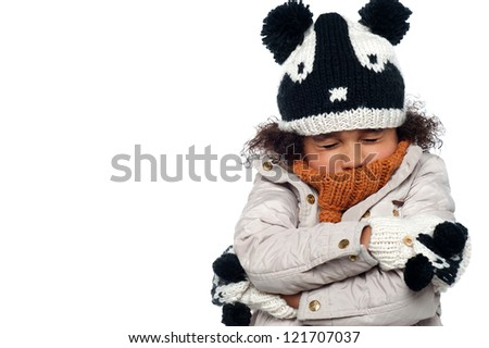 Its freezing out here, extreme winters. - stock photo