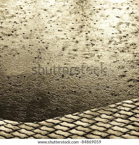 its raining on the ground - stock photo