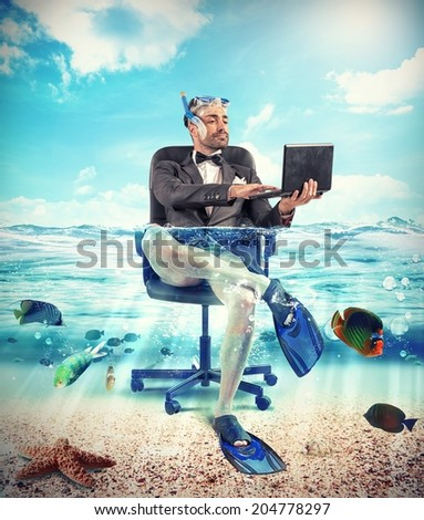 Its time to holiday with underwater businessman - stock photo
