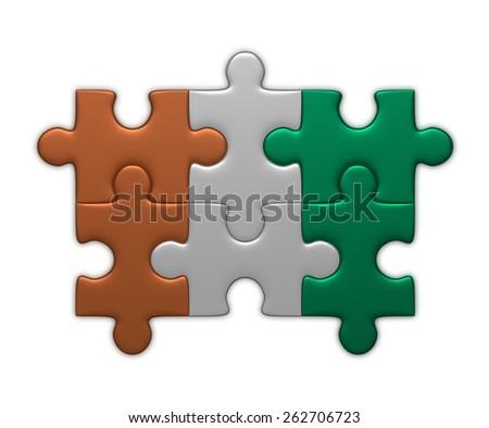 Ivory Coast flag assembled of puzzle pieces isolated on white background - stock photo