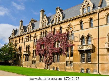 ivy clad wall of Christchurch college, Oxford university - stock photo