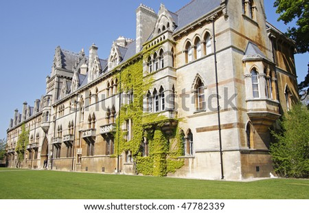 Ivy clad walls of Historic Oxford University in England - stock photo
