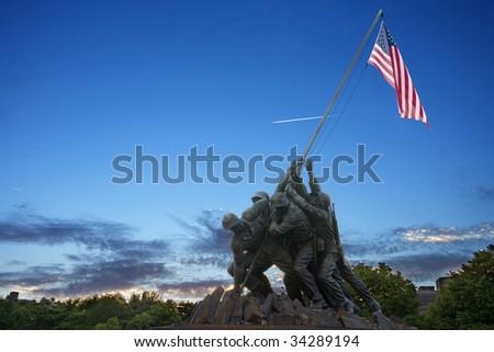 Iwo Jima Memorial at Dusk - stock photo