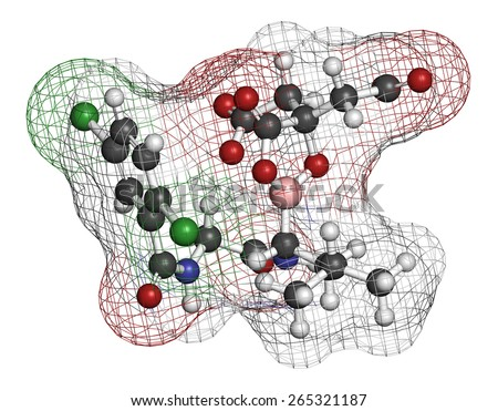 Ixazomib citrate multiple myeloma drug molecule (proteasome inhibitor). Atoms are represented as spheres with conventional color coding: hydrogen (white), carbon (grey), oxygen (red), etc - stock photo