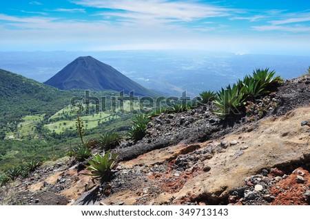 Izalco Volcano from Cerro Verde National Park, El Salvador. - stock photo