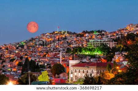 izmir at night - old town, izmir - stock photo