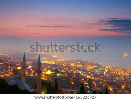 Izmir at nighttime. View from Kadifekale - stock photo