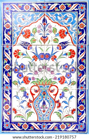 IZMIR, TURKEY - JULY 31 : Turkish artistic wall tile at the Fatih Mosque on July 31, 2014 in Izmir. impressive ancient Handmade Turkish Tiles. - stock photo