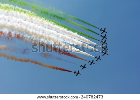 IZMIR, TURKEY - 04 JUNE 2011: The Italian demonstration team performes at the Airshow on June 04, 2011 in Izmir , Turkey - stock photo