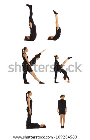 J, K and L abc letters formed by humans - stock photo