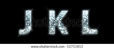 J,K,L - font made from a disco ball - stock photo
