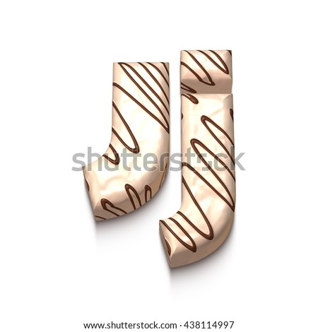 J letter of white chocolate with brown cream in 3d rendered on white background. - stock photo