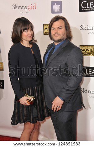 Jack Black & wife Tanya Haden at the 18th Annual Critics' Choice Movie Awards at Barker Hanger, Santa Monica Airport. January 10, 2013  Santa Monica, CA Picture: Paul Smith - stock photo
