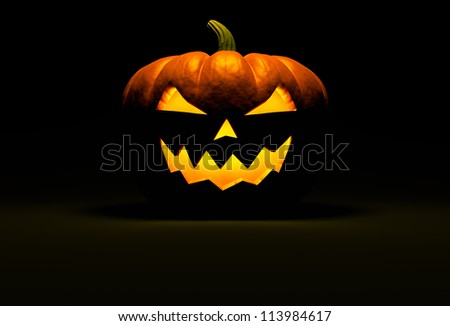 Jack O Lantern halloween pumpkin on black background with light reflection on the floor and copy space. Front view. 3d render - stock photo