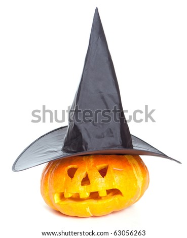 Jack-o-lantern hat  isolated on white background - stock photo