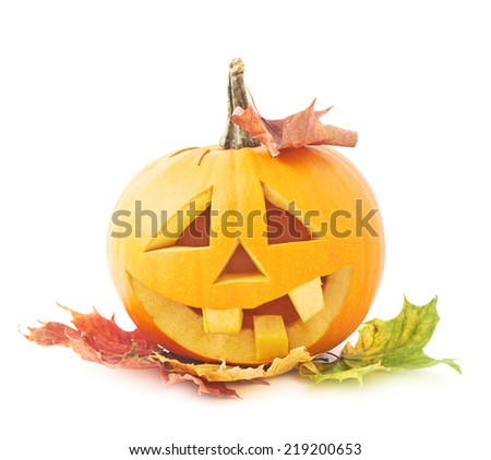 Jack-o'-lanterns orange halloween pumpkin head with the happy smiling facial expression and covered with the colorful maple leaves, isolated over the white background - stock photo
