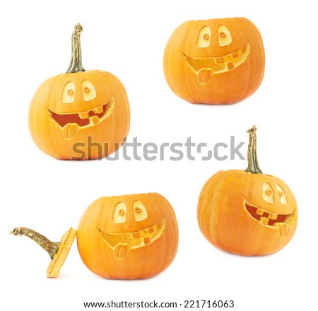 Jack-o'-lanterns orange halloween pumpkin head with the happy smiling facial expression carved on it, isolated over the white background, set of four foreshortenings - stock photo