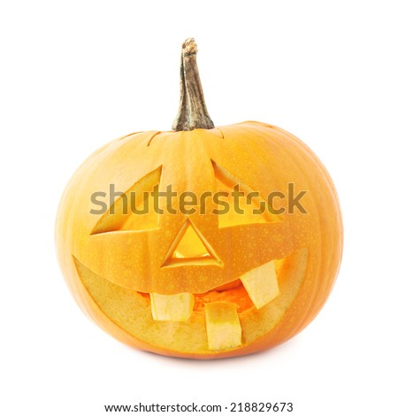 Jack-o'-lanterns orange halloween pumpkin head with the happy smiling facial expression, isolated over the white background - stock photo