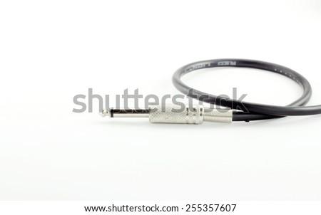 jack of audio cable isolated on white background - stock photo