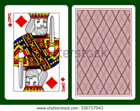 Jack of clubs playing card and backside background. Faces double sized. Original design - stock photo