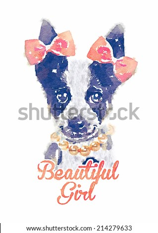 jack russell print/watercolor dog/Animal collection: Dog/T-shirt graphics/illustrations for children/cute dog/dog graphic/romantic girl/fairy tale character/art dog drawing - stock photo