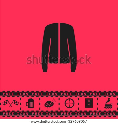 Jacket. Black flat illustration pictogram and bonus icon - Racing flag, Beer mug, Ufo fly, Sniper sight, Safe, Train on pink background - stock photo