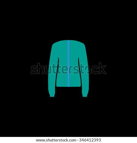 Jacket. Colorful symbol on black background - stock photo