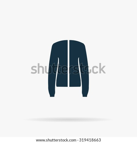 Jacket. Flat web icon or sign on grey background with shadow. Collection modern trend concept design style illustration symbol - stock photo